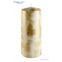 Candela Natale grande bianca con decorazioni spugnate oro - Ronca