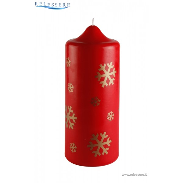 Candela classica rossa natalizia con fiocchi di neve dorati - Ronca
