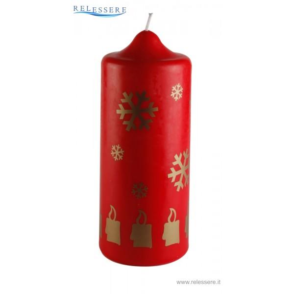 Candela classica rossa natalizia con candele e fiocco di natale dorati - Ronca