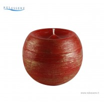 Candela Natale sfera piccola rossa con decorazioni spugnate oro - Ronca