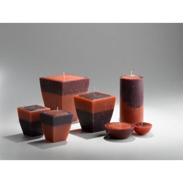 Candela in cera bicolore vaso medio