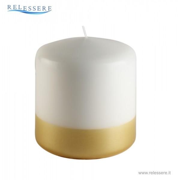 Candela Natale bianca con linea oro - Ronca