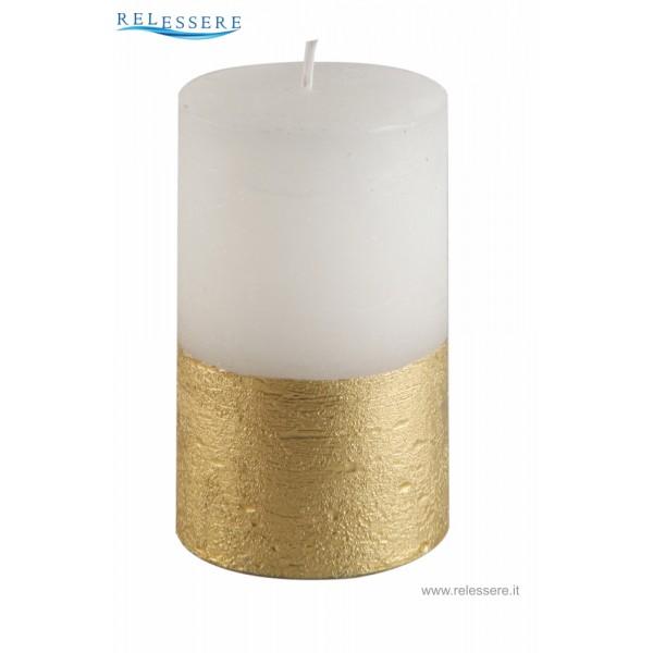 Candela Natale mezza colonna bianca con finitura rustica oro - Ronca