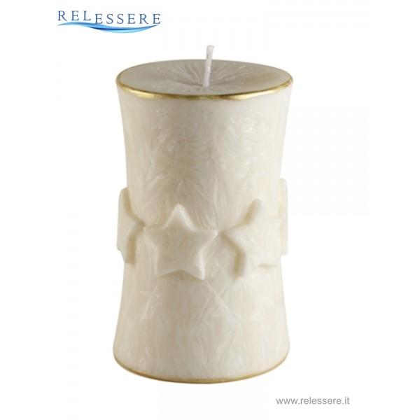 Candela Natale cilindro avorio con decorazioni stelle ad anello - Ronca