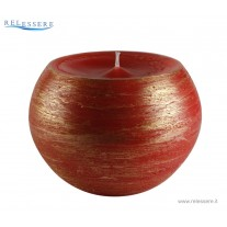 Candela Natale sfera grande rossa con decorazioni spugnate oro - Ronca