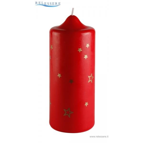 Candela classica rossa natalizia con stelline dorate - Ronca