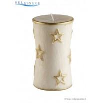 Candela Natale cilindro avorio con decorazioni stelle oro - Ronca