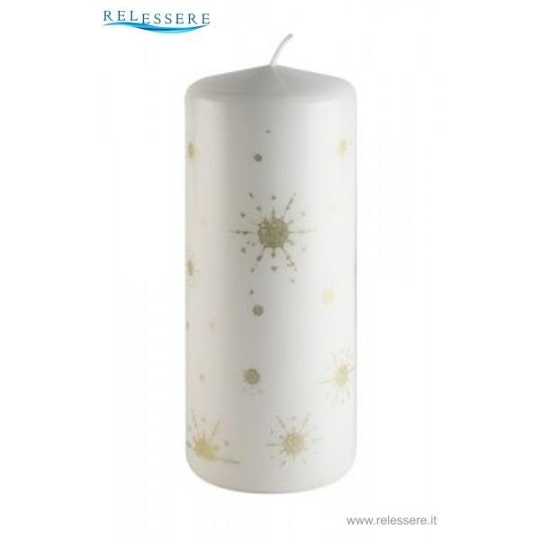Candela Natale bianca con stelle oro e lustrini - Ronca