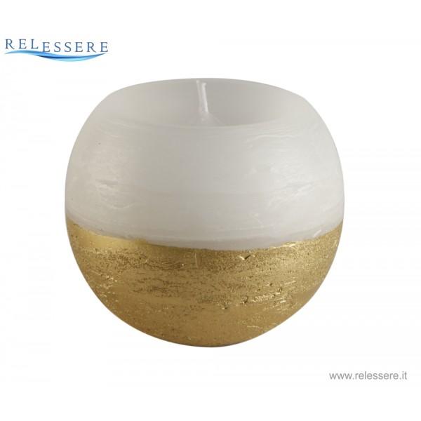 Candela Natale sfera bianca con finitura rustica oro - Ronca