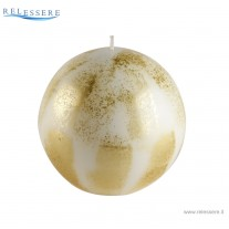 Candela Natale sfera bianca con decorazioni spugnate oro - Ronca