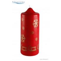 Candela classica rossa natalizia con slitta e fiocco di neve dorati - Ronca
