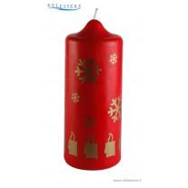 Candela classica rossa natalizia con candele e fiocco di neve dorati - Ronca